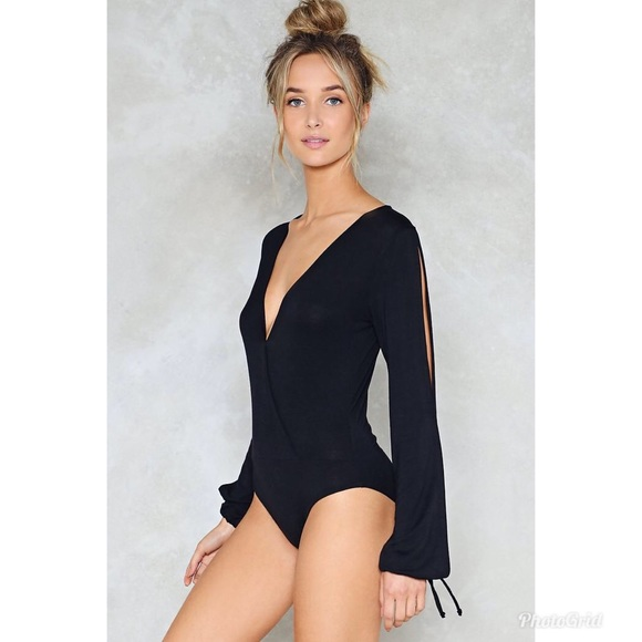 NWT Nasty Gal Get Your Slit Together Bodysuit (A6) 8b9048cf257